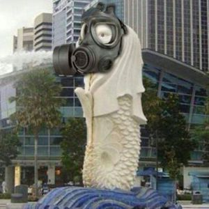 Merlion in Gas Mask
