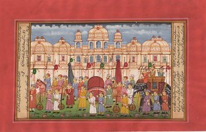 Indian-Ethnic-Rajasthan-Miniature-Painting-Royal-Emperor-Procession-Folk-Artwork-200775031879