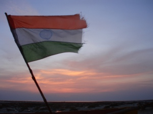 india-flag-sunset