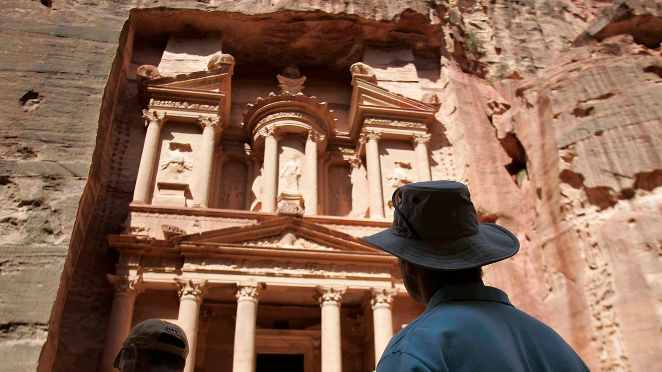 Tourists visit Jordan's ancient city of Petra