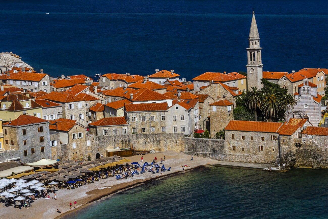 Panoramic view of medieval town Budva. Montenegro, Europe.
